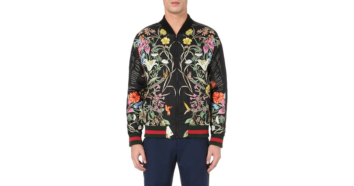 Gucci Floralprint Embroidered Silk Bomber Jacket In Black