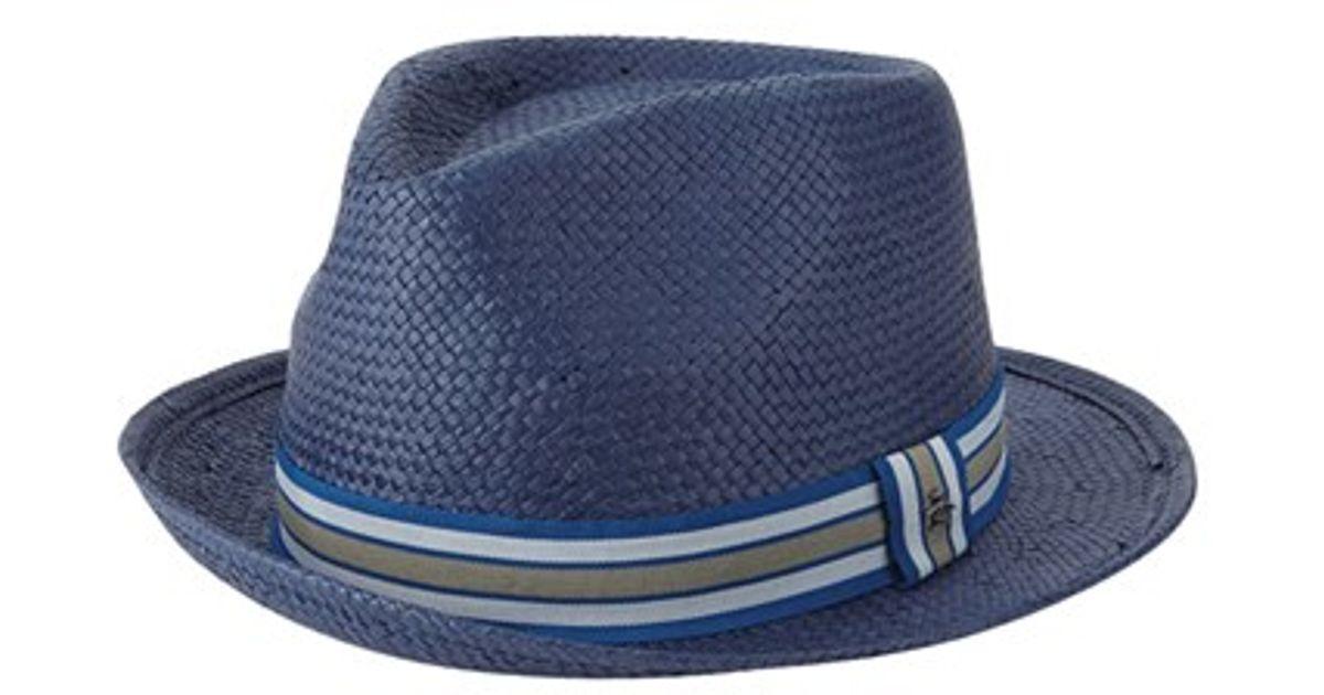 da4f47e0222 Lyst - Original Penguin Stripe Straw Fedora in Blue