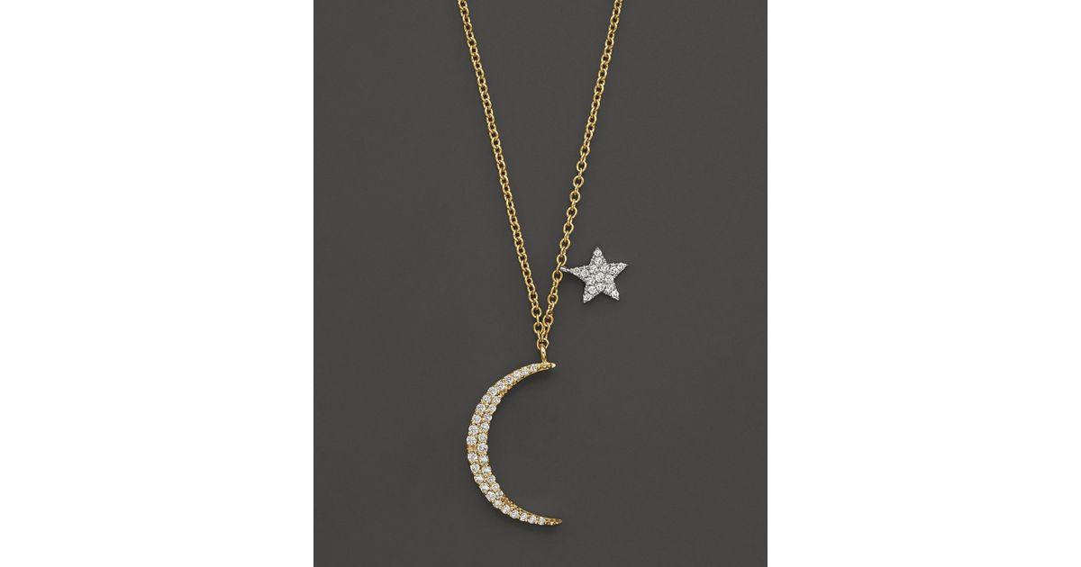Lyst meira t diamond moon necklace in 14k yelliow gold 22 ct lyst meira t diamond moon necklace in 14k yelliow gold 22 ct tw 16 in yellow aloadofball Image collections