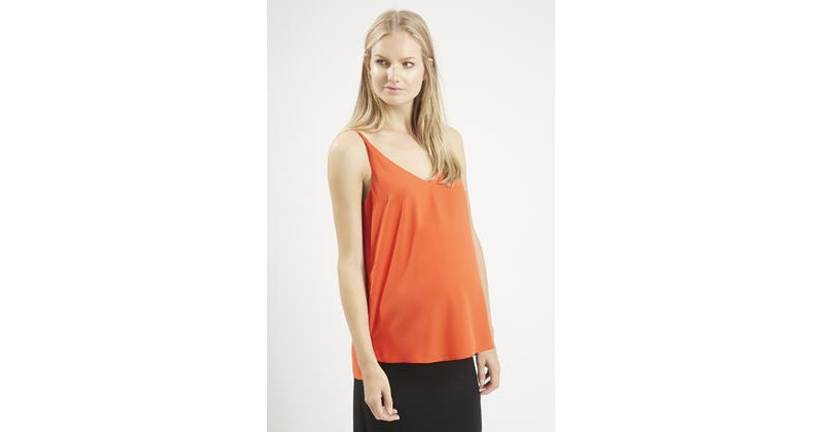 e7a456074cd2d Lyst - TOPSHOP Maternity Plunge V-Neck Cami in Orange