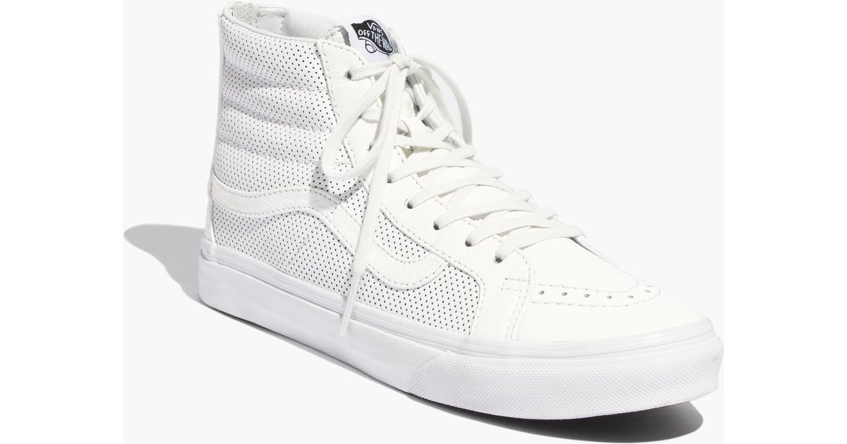 Lyst - Madewell Vans® Sk8-Hi Slim Zip High-Top Sneakers In Perforated  Leather in White 7d2ce4ebe