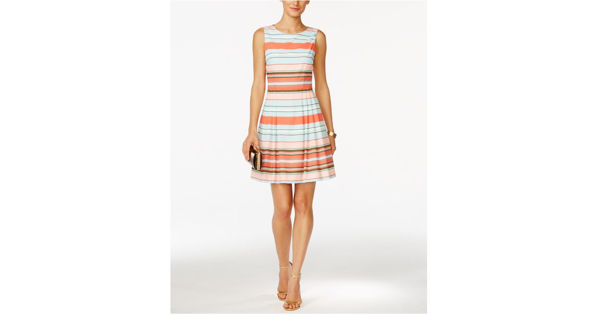a1b84d9b851 Lyst - Cece by Cynthia Steffe Cece Claiborne Striped Fit   Flare Dress