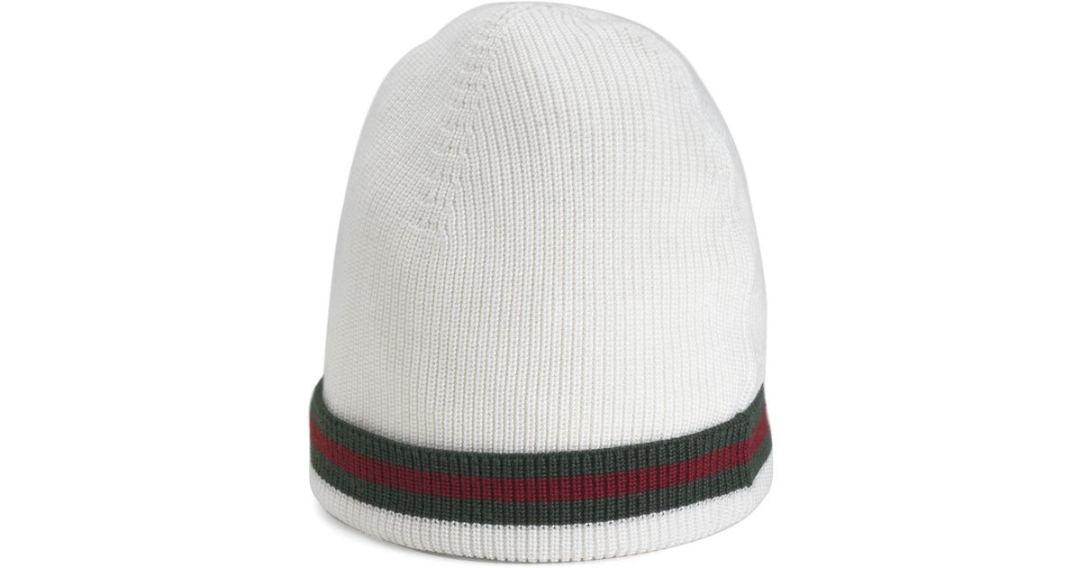dc9d4b7c Gucci Crook Knit Hat in White for Men - Lyst