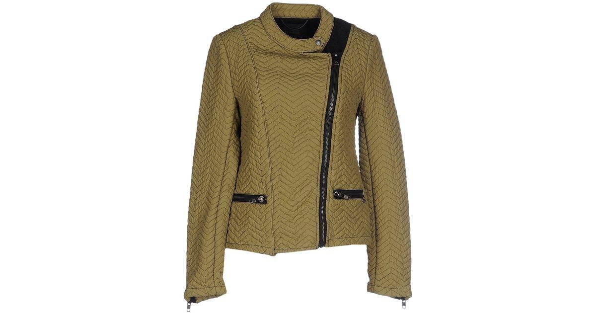 maison scotch jacket in beige military green lyst. Black Bedroom Furniture Sets. Home Design Ideas