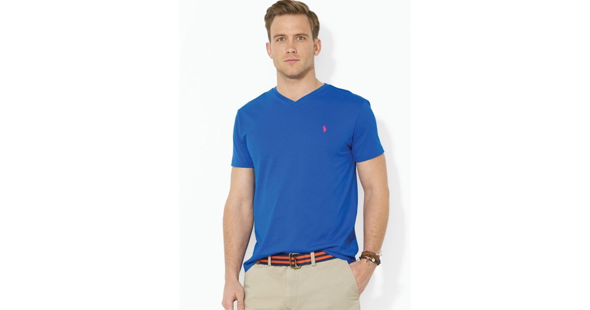 a991ff7d9 ... promo code for lyst polo ralph lauren short sleeve cotton jersey v neck  tee in blue
