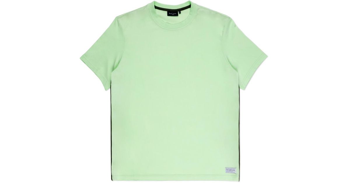 Paul smith men 39 s neon green taped seam t shirt in green for Neon green shirts for men