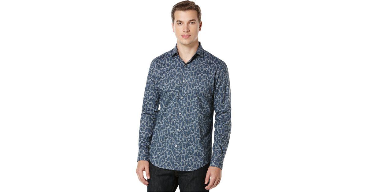 Perry ellis big and tall navy rose print shirt in blue for for Mens big and tall burberry shirts