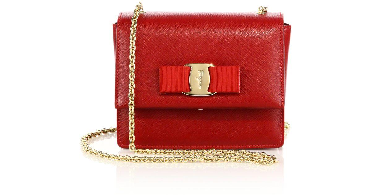 Lyst - Ferragamo Ginny Mini Square Saffiano Leather Crossbody Bag in Red 2bfb773b54413