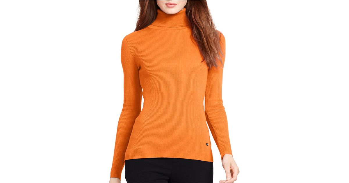Lauren by ralph lauren Petite Ribbed Turtleneck Sweater in Orange ...