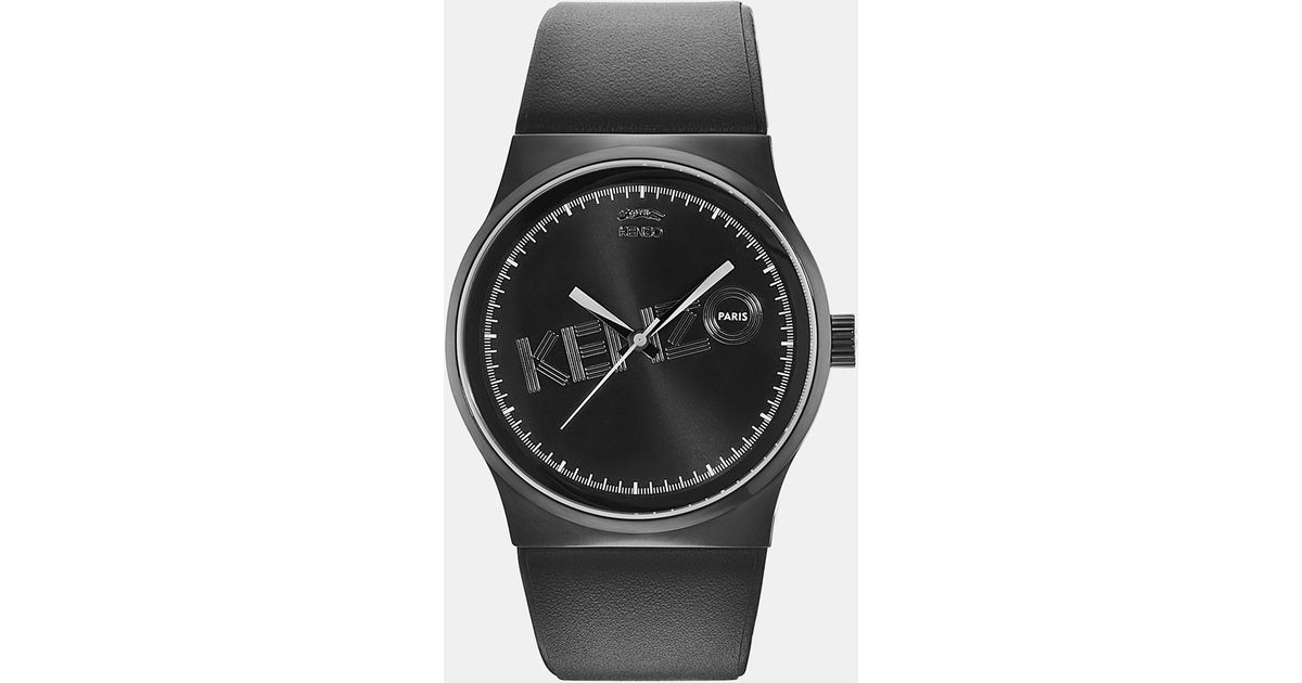 5d4758bb KENZO Watch With Leather Strap in Black for Men - Lyst