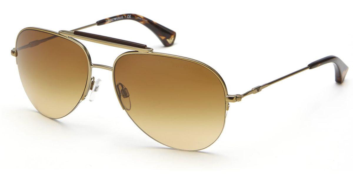 14b093111568 Emporio Armani Gold-Tone Ea2020 Metal Aviator Sunglasses in Metallic - Lyst