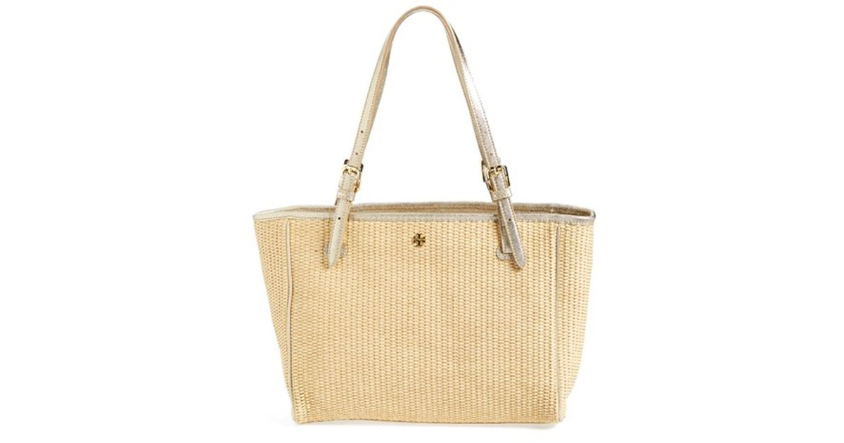 ea64f587e6b5 Lyst - Tory Burch  small York  Straw Buckle Tote in Natural
