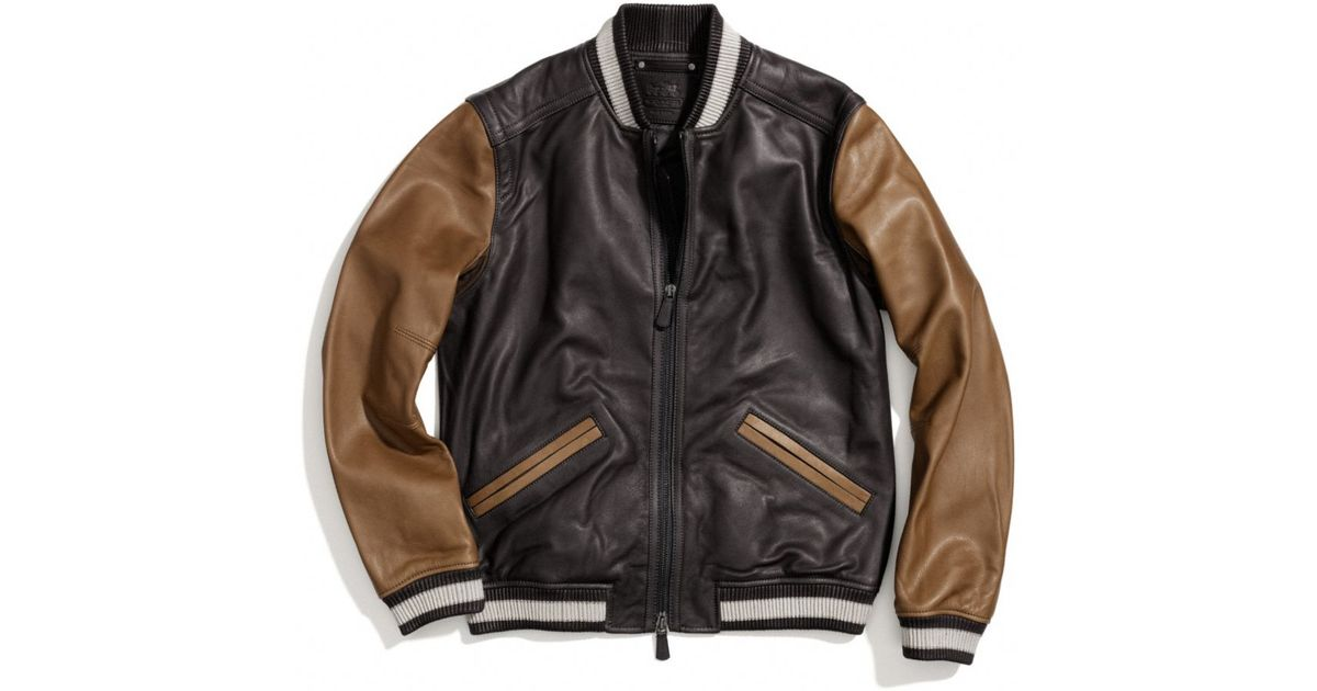 Lyst - Coach Leather Baseball Jacket in Brown for Men