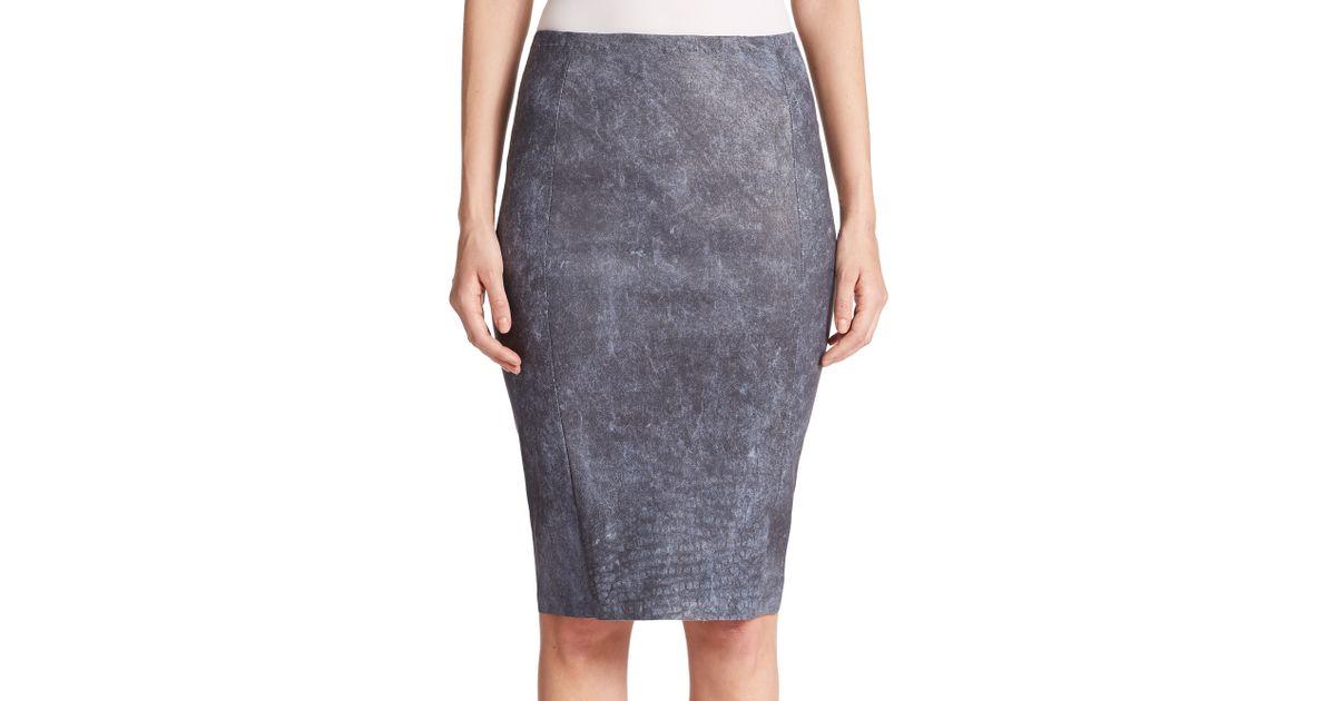 Navy Blue Leather Pencil Skirt - Dress Ala