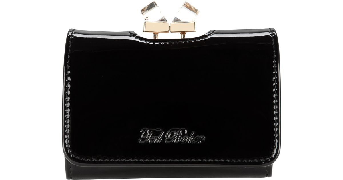 2fdedf08e3a3b2 Ted Baker Kryssi Small Patent Leather Crystal Frame Purse in Black - Lyst