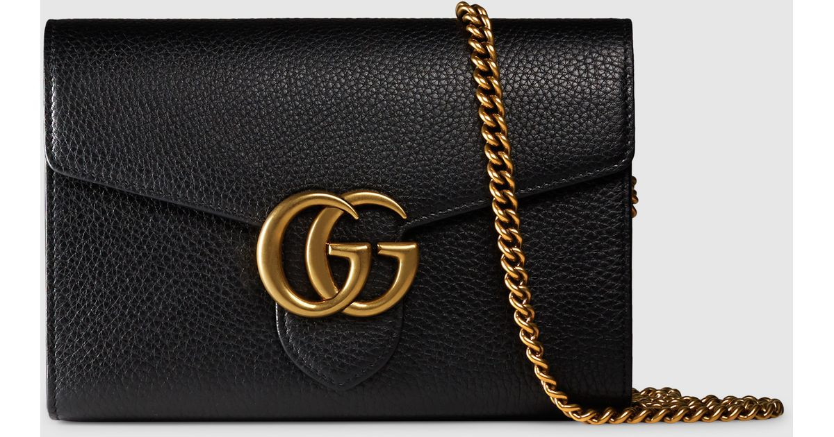 5123cf2e53dc Gucci Gg Marmont Leather Chain Wallet in Black - Lyst