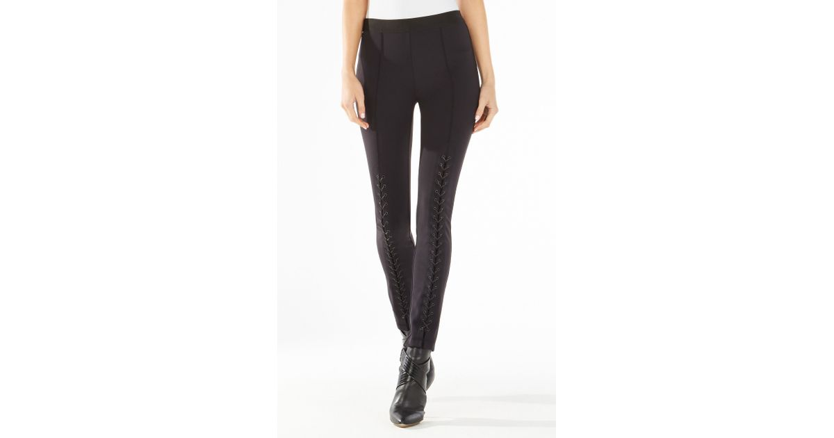 6b22b7b0debf5 BCBGMAXAZRIA Beau Lace-up Leggings in Black - Lyst
