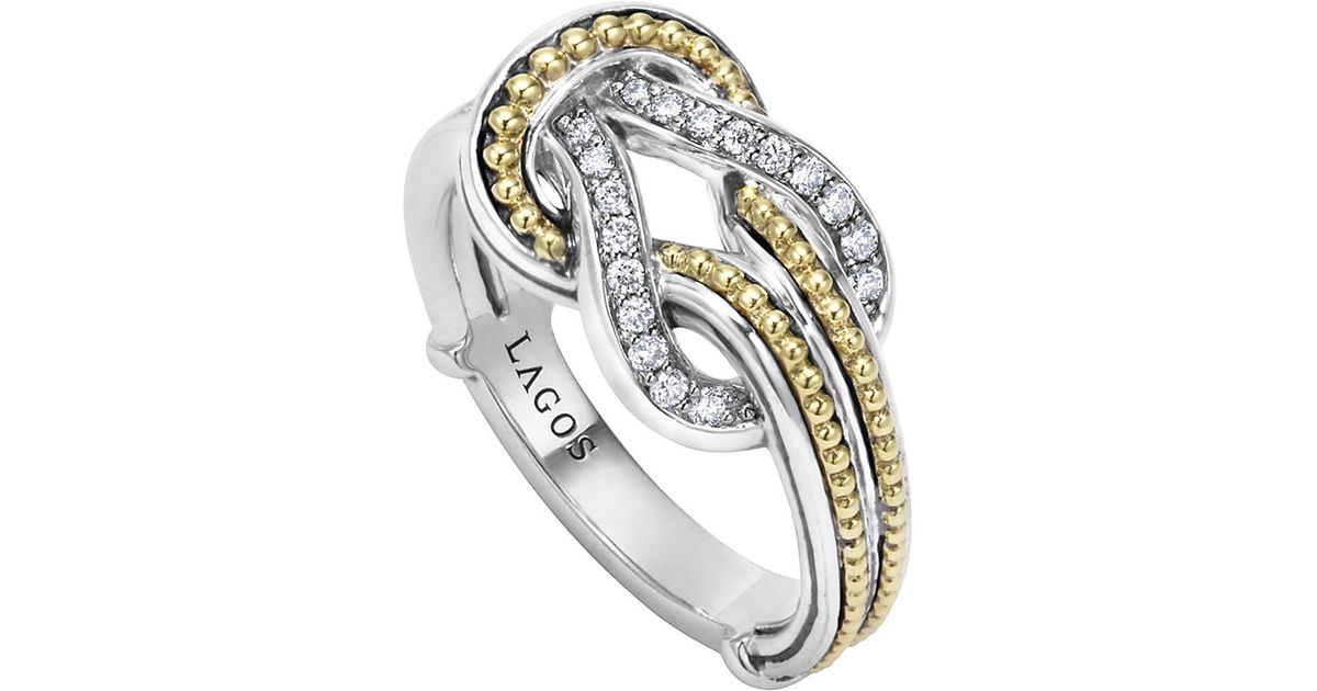 Lagos Newport 18K Gold Diamond Knot Ring LH1TvaY
