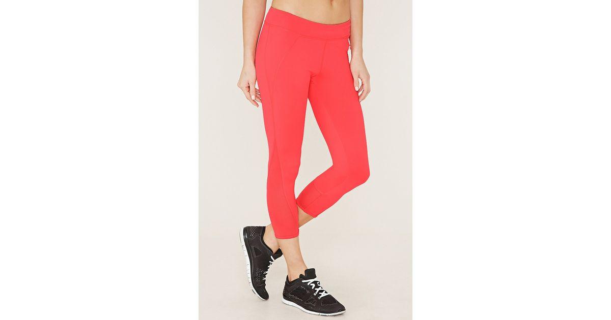 Forever 21 Active Mesh Capri Leggings in Red | Lyst