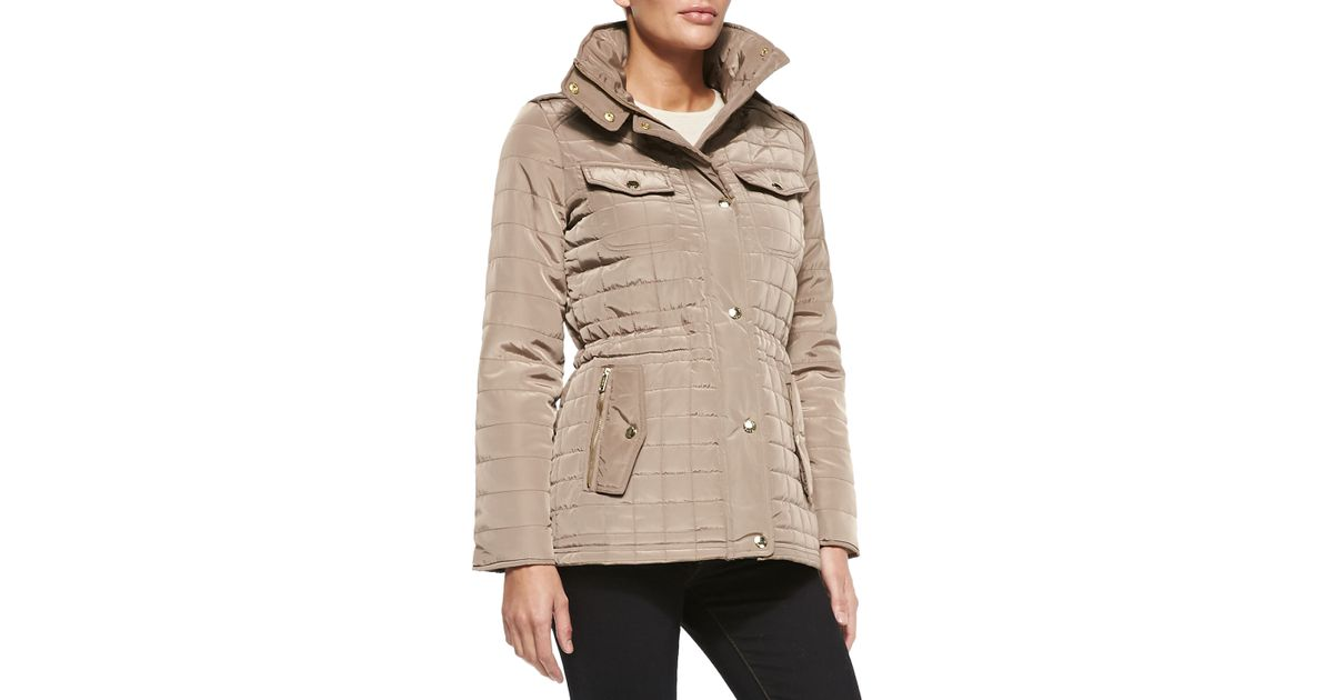 57b8a1abe9e Lyst - MICHAEL Michael Kors Quilted Puffer Anorak Jacket in Brown