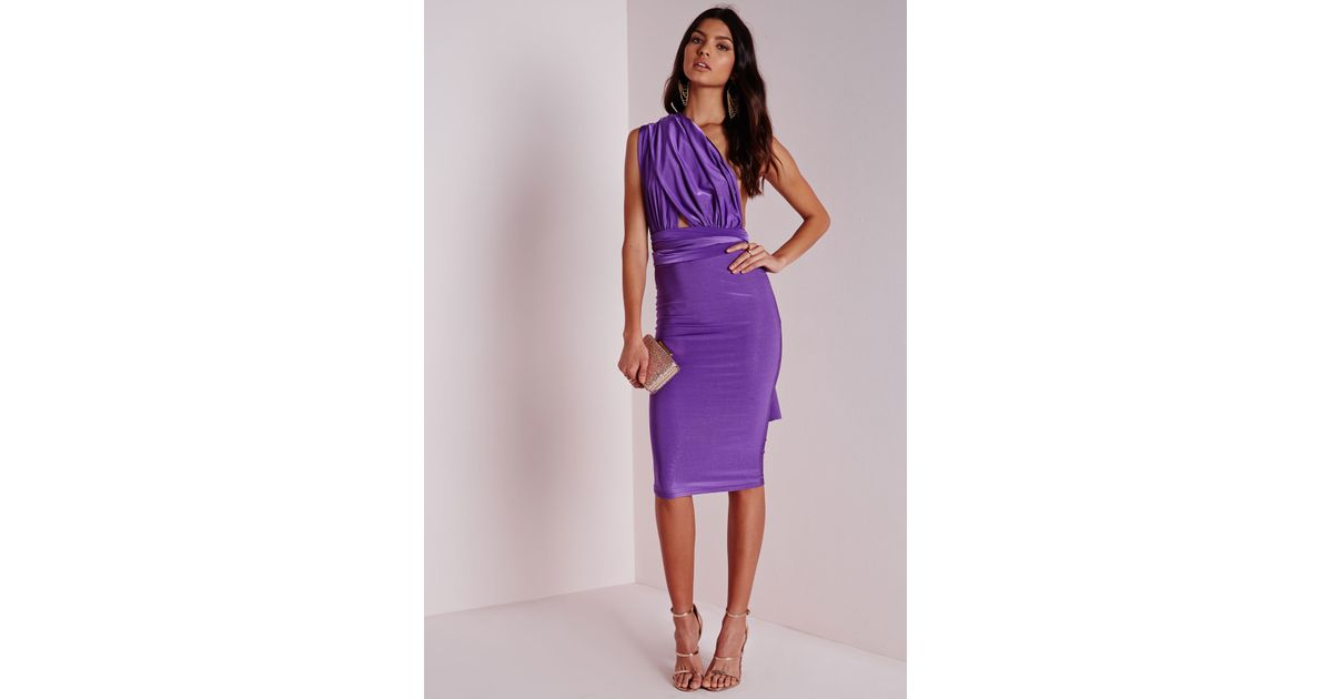 e20f9e63eb Lyst - Missguided Do It Any Way Multiway Slinky Midi Dress Purple in Purple