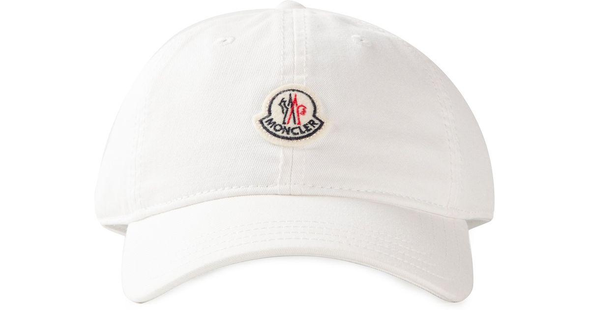 Lyst - Moncler Logo Detail Baseball Cap in White for Men 5e1111e79f8