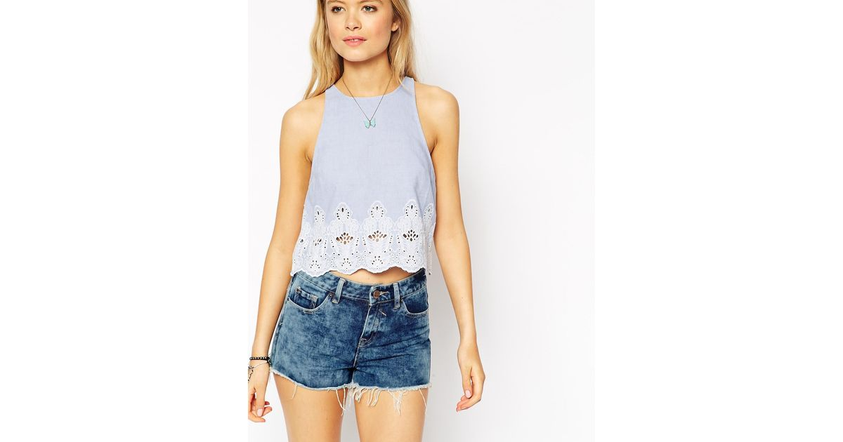 845616dc7e1c Lyst - ASOS Blue Chambray Broderie Shell Top in Blue