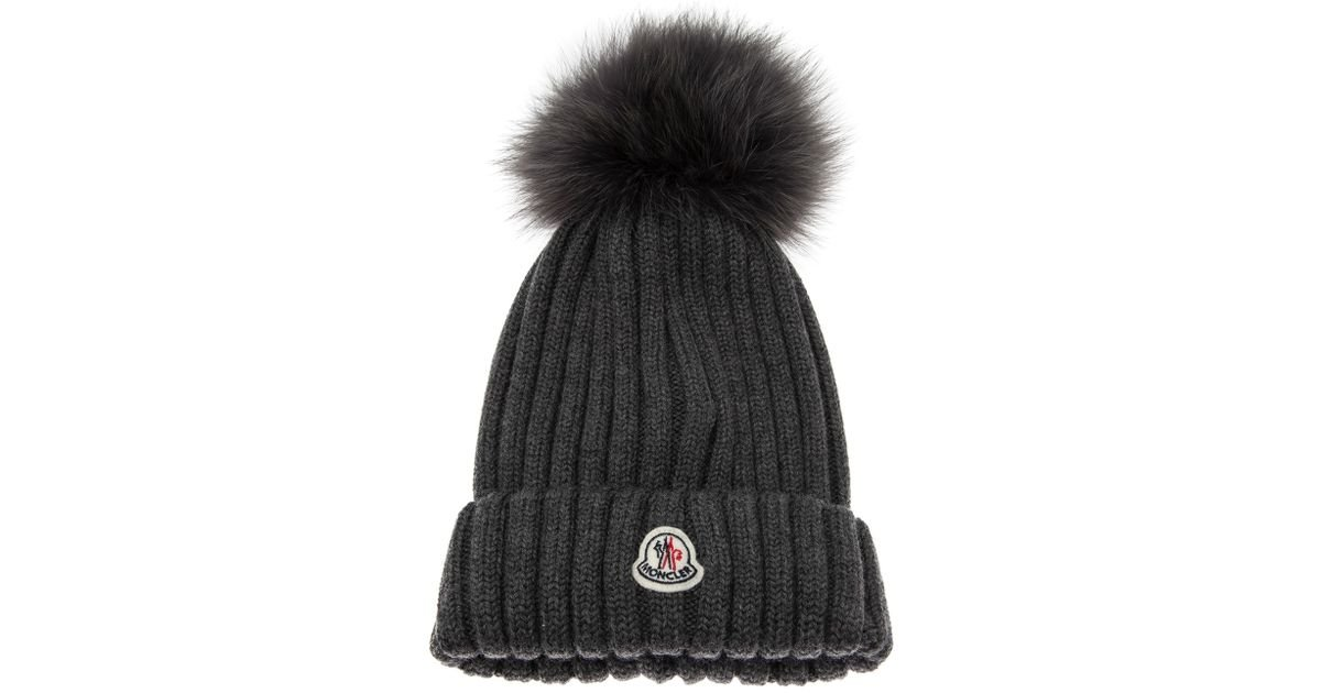 Moncler Cap with Fur Pom Pom in Gray - Lyst 9e90f480948