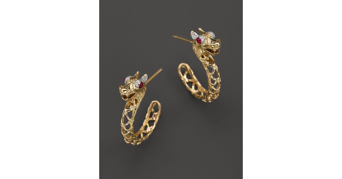 2f20eeeacf8 Lyst - John Hardy 18k Gold Naga Diamond Pavé Medium Dragon Hoop Earrings  With African Ruby Eyes in Yellow