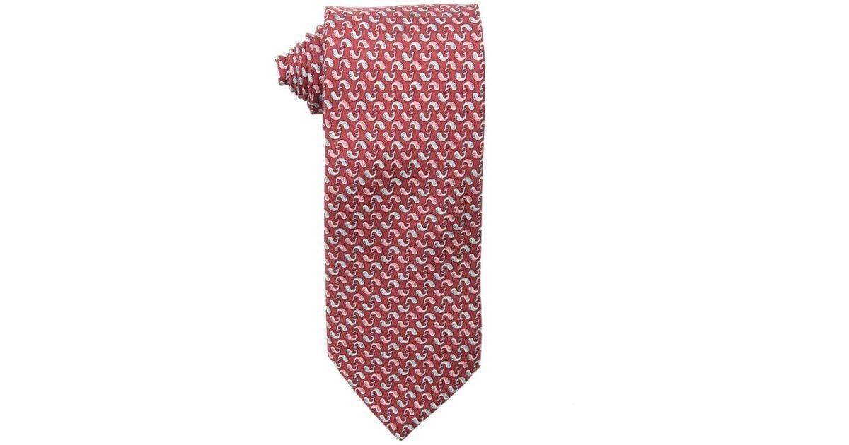 5b32ab9608f6 Lyst - Hermès Burgundy Whale Printed Silk Twill Tie in Red for Men