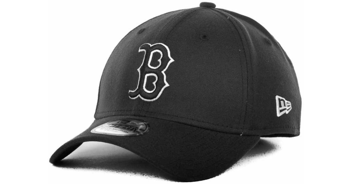 af5f3bc0795 Lyst - KTZ Boston Red Sox Black and White Ace 39thirty Cap in Black for Men
