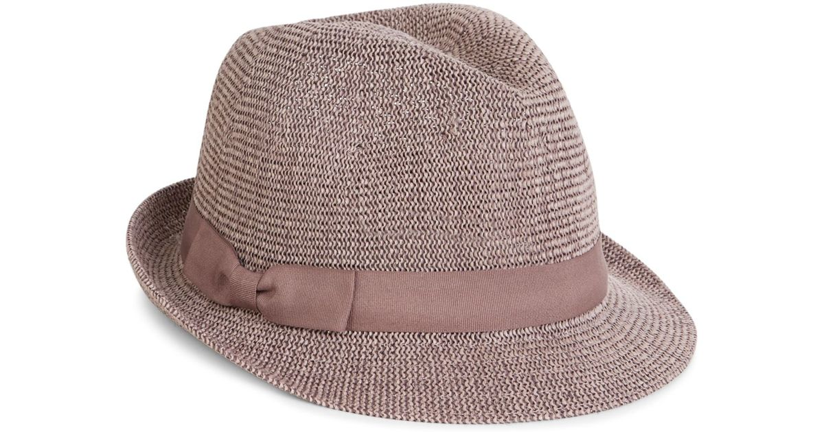 Knitting Pattern Trilby Hat : Accessorize Knitted Paper Packable Trilby Hat in Brown Lyst
