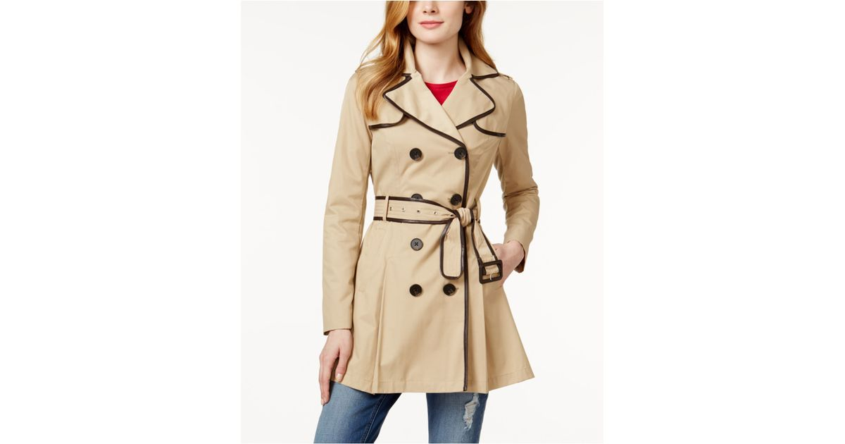 22cce72cb Bcbg Trench Coat With Leather Sleeves - Tradingbasis
