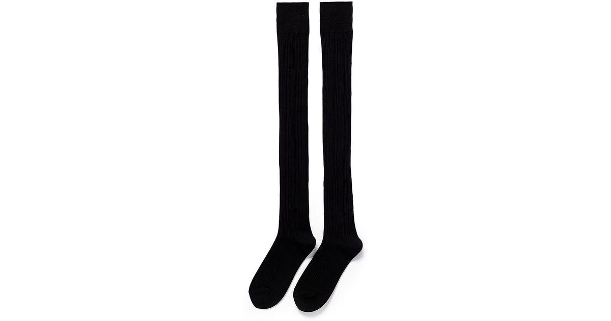 fd1ad37a5 Lyst - Hansel From Basel Rib Knit Thigh High Socks in Black