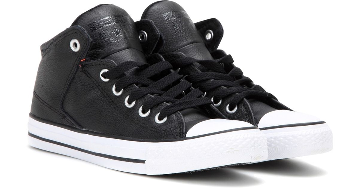 6a766043ed76 Converse Chuck Taylor All Star High Street Leather Sneakers in Black - Lyst
