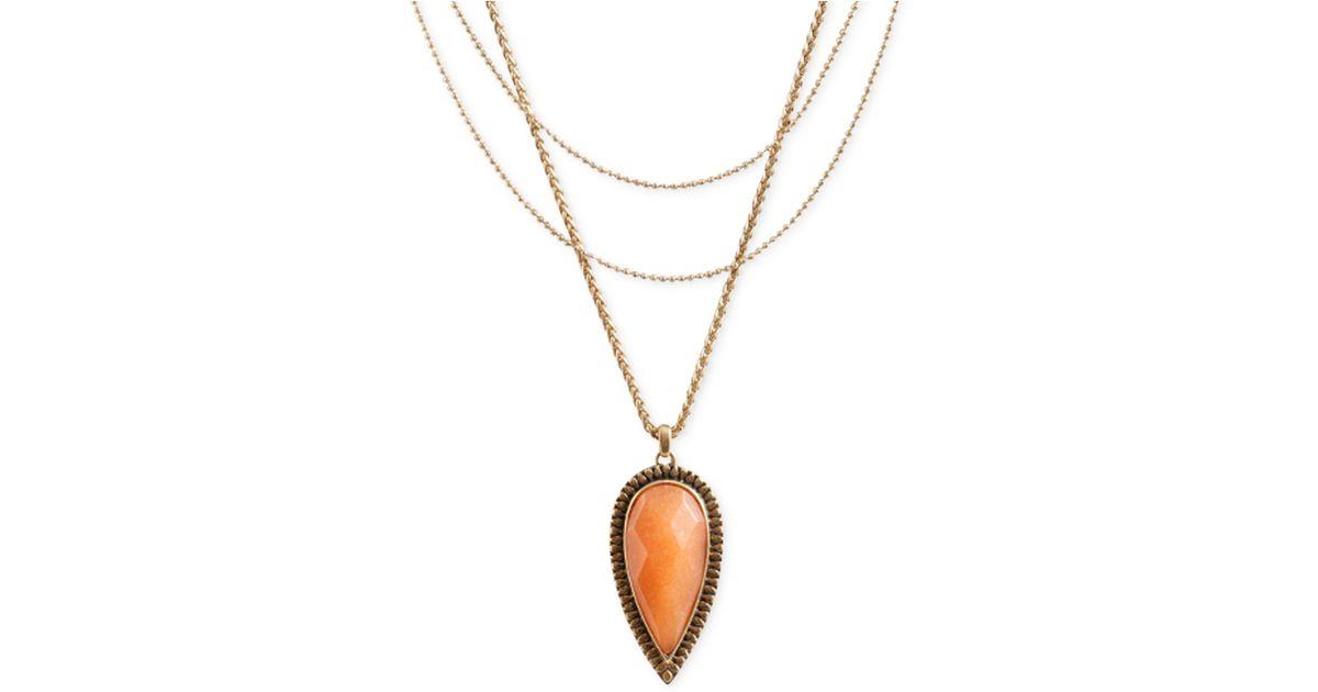Lyst lucky brand gold tone carnelian pendant necklace in orange aloadofball Choice Image