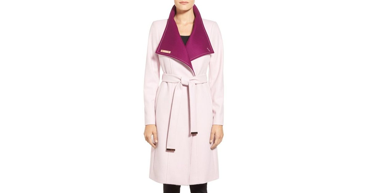 b6d2a6ae9 Lyst - Ted Baker Ted Baker Wool Blend Wrap Coat in Pink