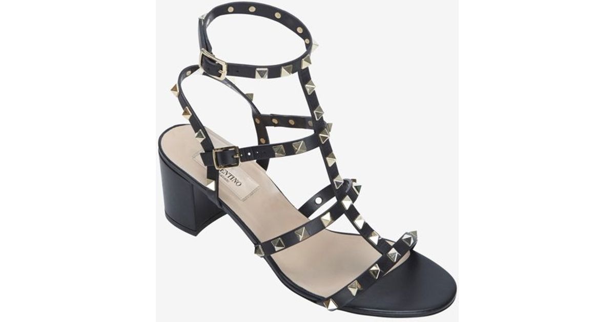 a78a21fa020 Lyst - Valentino Rockstud Gladiator Mid Chunky Heel Sandal Black in Black