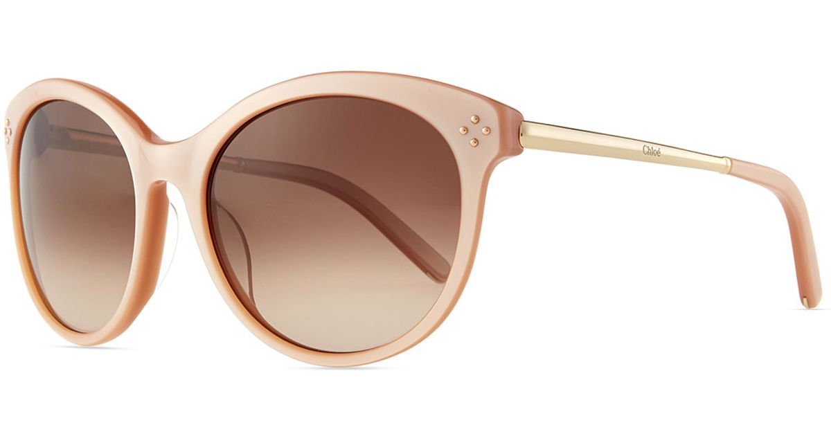 f821dd1ee95 Lyst - Chloé Boxwood Cat-eye Sunglasses in Natural