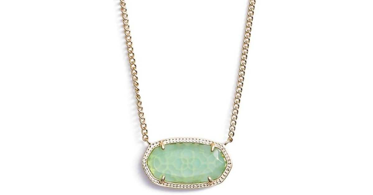 Lyst kendra scott dylan stone pendant necklace chalcedony lyst kendra scott dylan stone pendant necklace chalcedony gold in green aloadofball Images