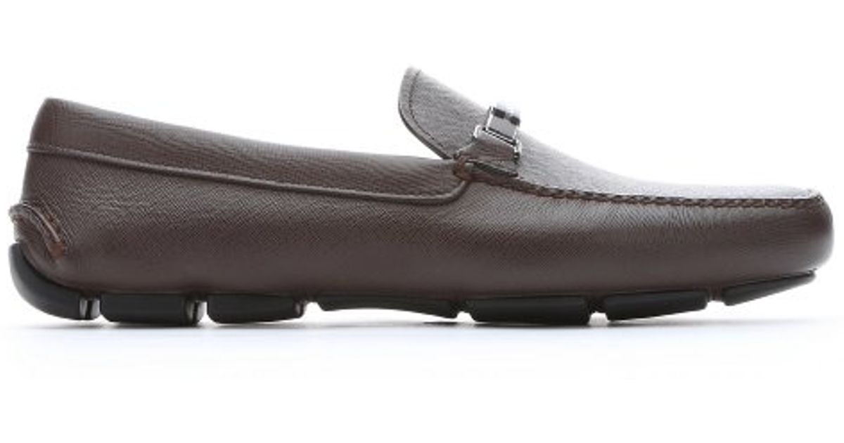 d2e027b7129 ... best lyst prada caffe saffiano leather logo strap driving loafers in  brown for men 66a7a 31d5c