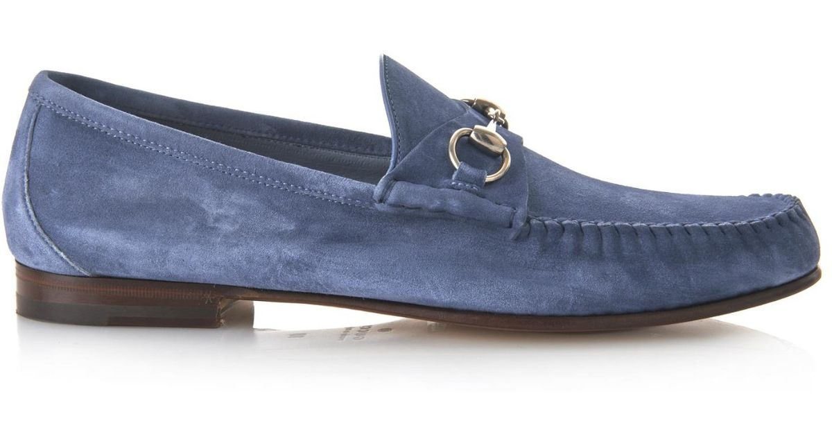 5edba09ce0b Lyst - Gucci Roos Suede Loafers in Blue for Men