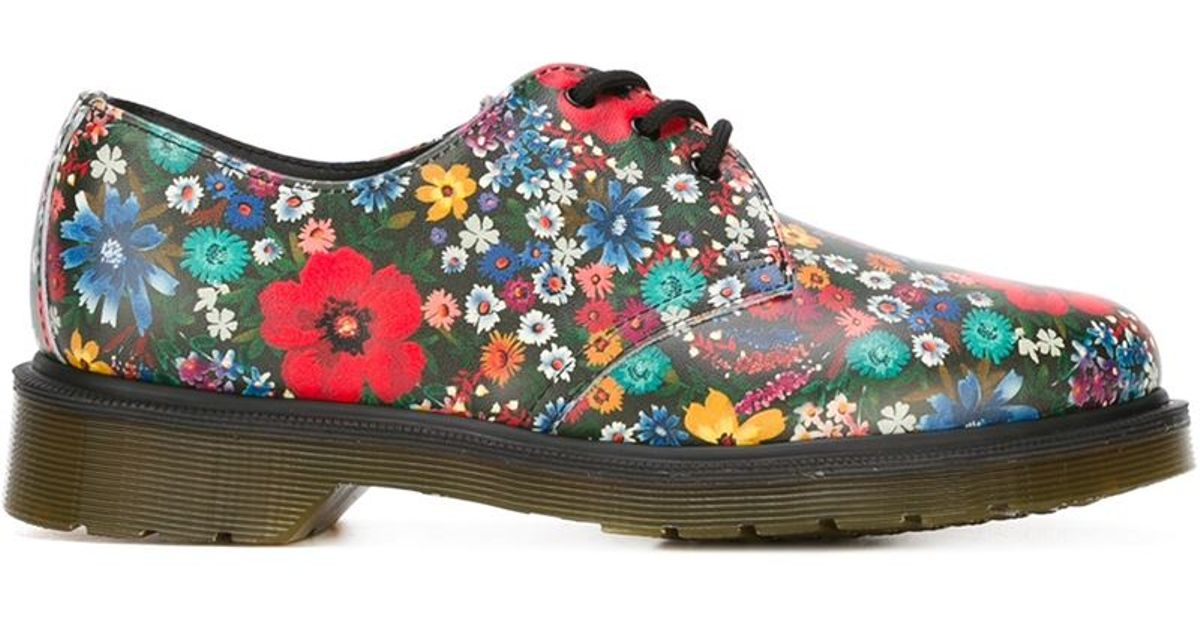 Lyst - Dr. Martens Floral-Print Leather Derby Shoes in Blue 7496a1c0a5aa