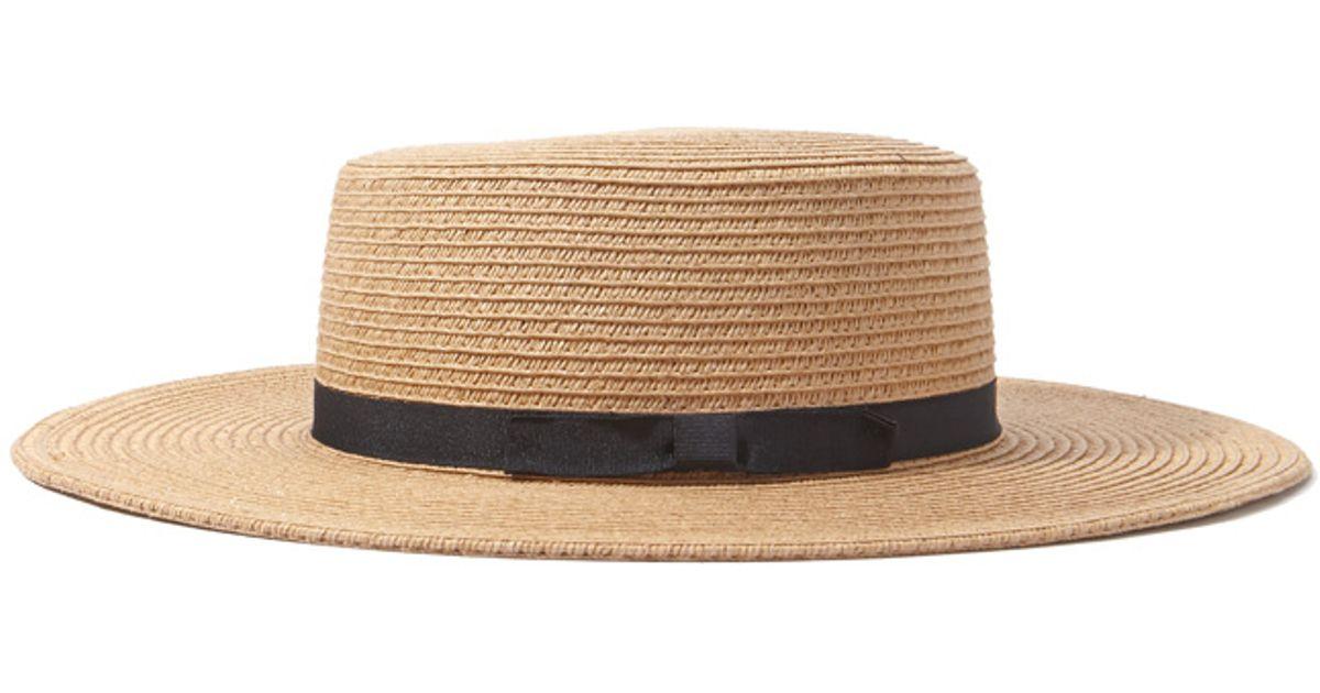 forever 21 straw boater hat in beige camel black lyst