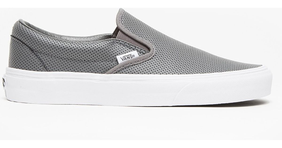 e25c2bffe3 Lyst - Vans Classic Slip-on Perf Leather in Gray