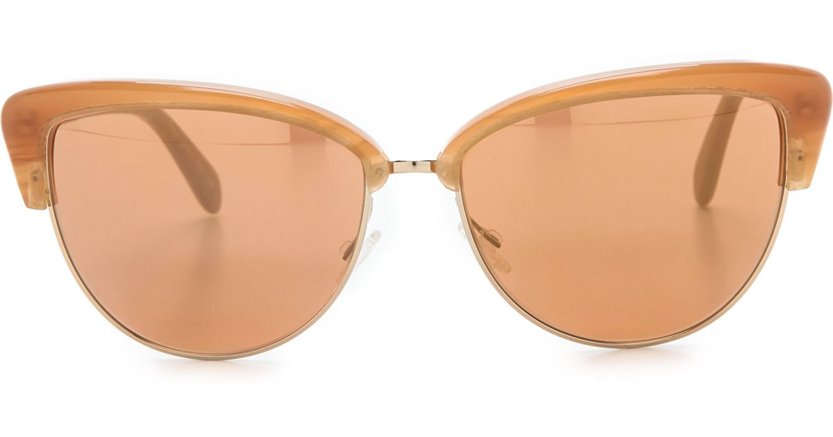 a66d297e52 Lyst - Oliver Peoples Alisha Mirrored Sunglasses - Terracotta Peach Gold  Mirror in Brown