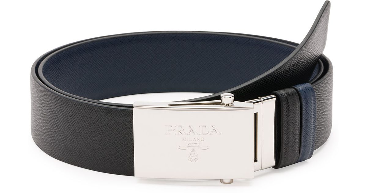 c199305baa2dd switzerland lyst prada reversible saffiano leather plaque belt in black for  men 42dde 97dd6