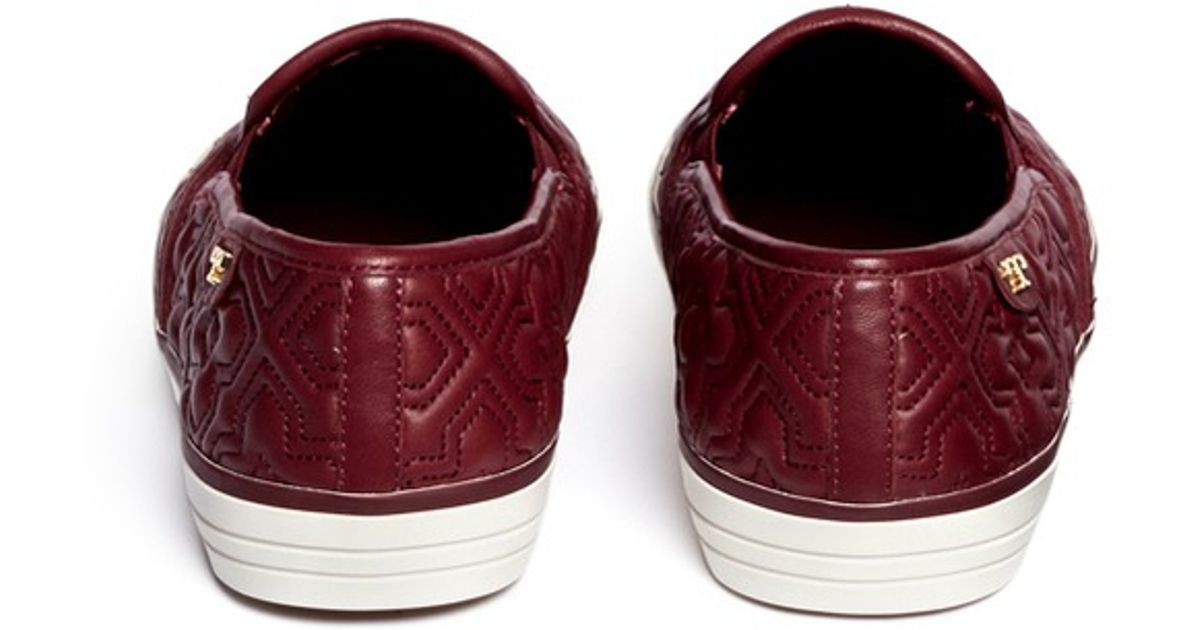 1671ab7f1720 Lyst - Tory Burch  jesse  Quilted Leather Slip-ons in Red