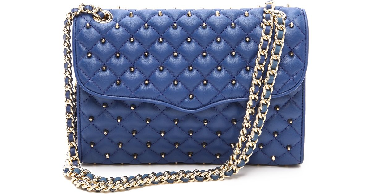 Lyst Rebecca Minkoff Quilted Affair Bag With Studs Navy In Blue