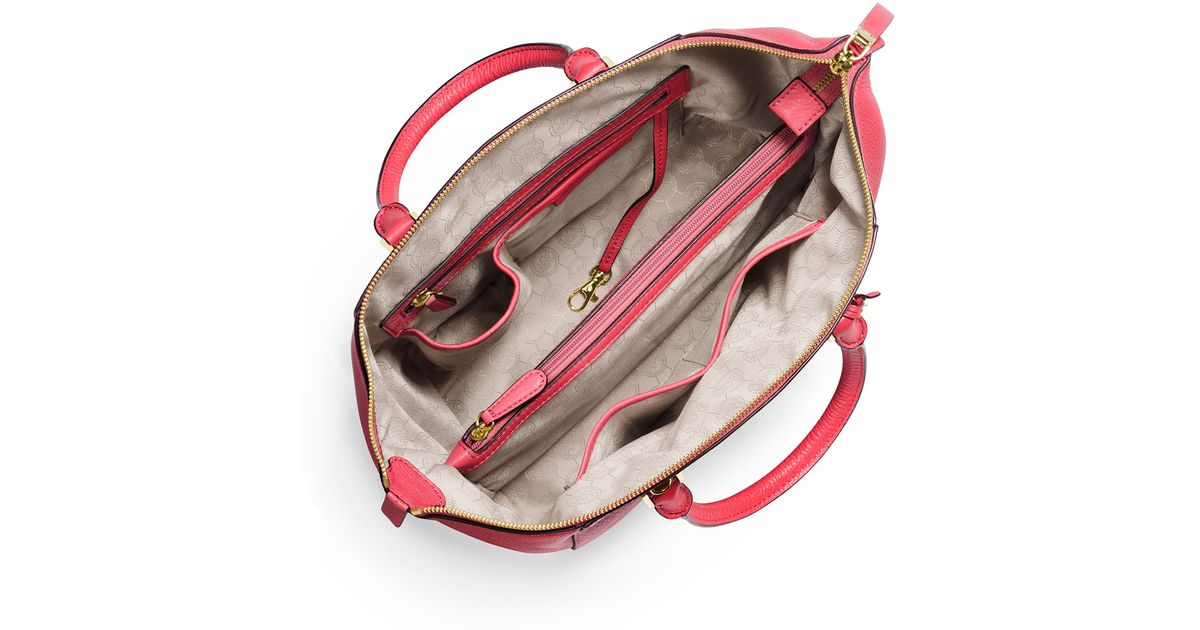 5a75c540e5c0 Lyst - MICHAEL Michael Kors Riley Large Pebbled Leather Satchel Bag in Pink